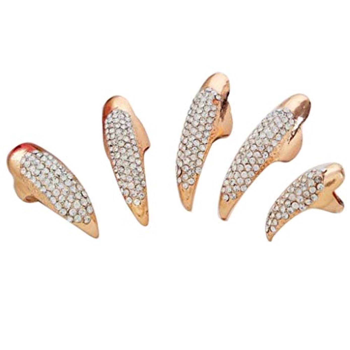 武器びん高揚したネイルアート ネイルリング 爪リング ネイルチップ 指先 爪の指輪 キラキラ 2色選べ - ゴールデン