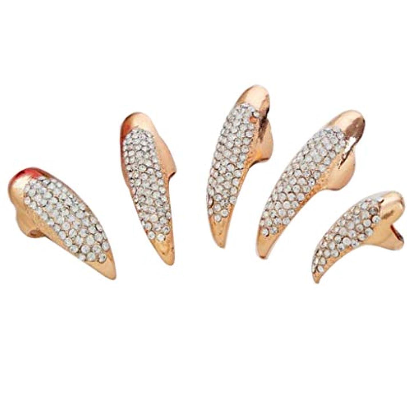 テープ認識アンカーネイルアート ネイルリング 爪リング ネイルチップ 指先 爪の指輪 キラキラ 2色選べ - ゴールデン