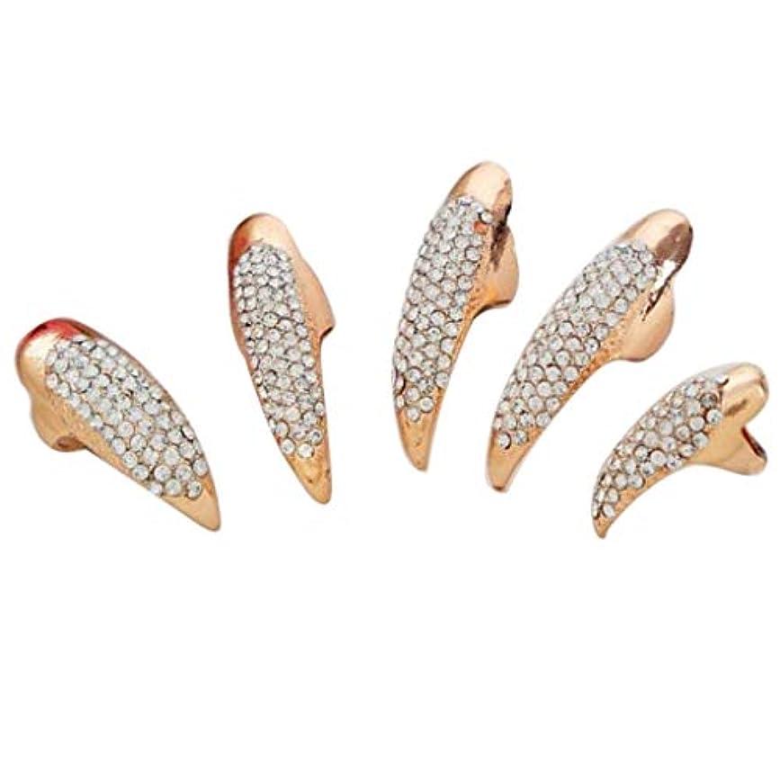 ポジション法律により郵便屋さんネイルアート ネイルリング 爪リング ネイルチップ 指先 爪の指輪 キラキラ 2色選べ - ゴールデン
