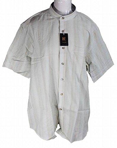 (アローズ) ARROWS メンズ スタンドカラー シャツ 半袖 しじら織 和風 立ち襟 (M, グリーン系2#)