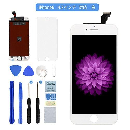 Flylinktech iPhone6 フロントパネル タッチパネル 液晶パネル 修理交換用タッチパネルフロントガラス デジタイザ iPhone6 4.7 インチ用ガラス修理 液晶パネル iPhone6 強化ガラスフィルム 修理工具セット付きホワイト