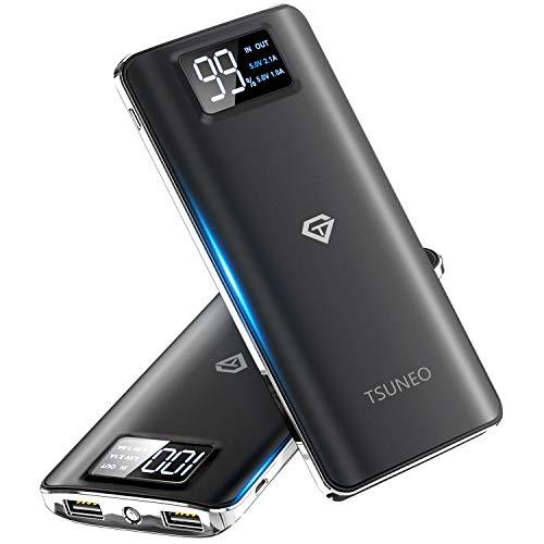 モバイルバッテリー 15600mAh 大容量 2019最新版 軽量 薄型 2つUSB出力ポート スマホ 充電器 LCD残量表示 旅行/緊急用 Android/iPhone対応(ブラック)