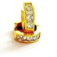 [イミテーションゴールド]ImitationGOLD フープピアス ダイヤモンド 24金 (片耳1個)-24KGP 16mm径 メンズピアス 《 ギフト バック付 》 【並行輸入品】