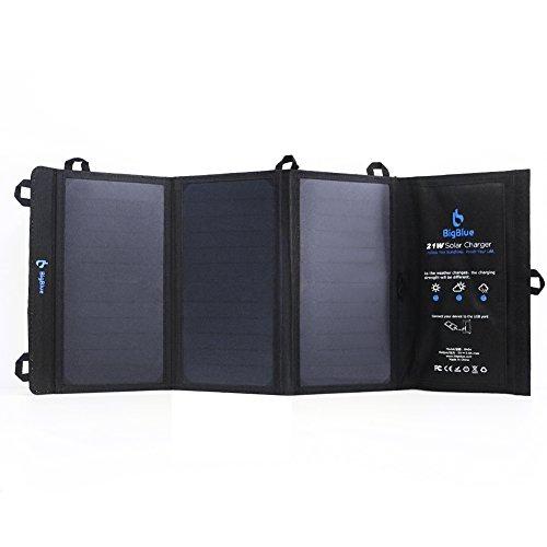 BigBlue 5V 21W ソーラーパネル ソーラーチャージャー 2USBポート 防水 充電器 キャンプ 山登り アウトドア 折り畳み式 iPhone iPad Android各種など対応