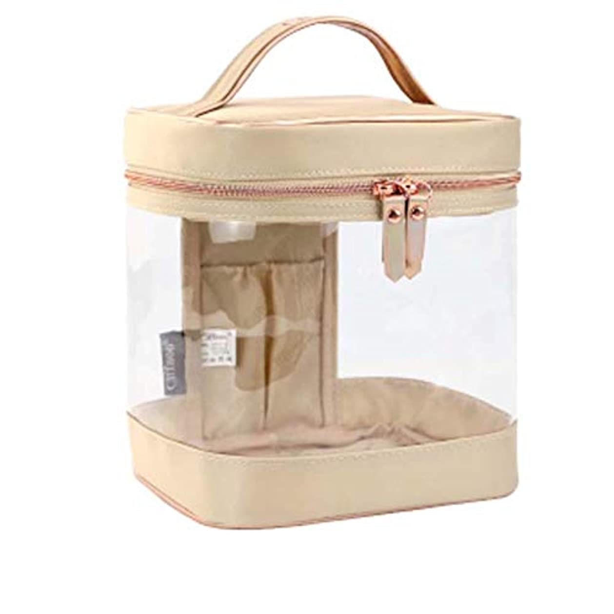 オアシス繁雑すぐに化粧ポーチ 防水 透明 PVC コスメポーチ高品質 トイレタリーバッグ 洗面用具収納ポーチ 旅行 母の日 (ベージュ)
