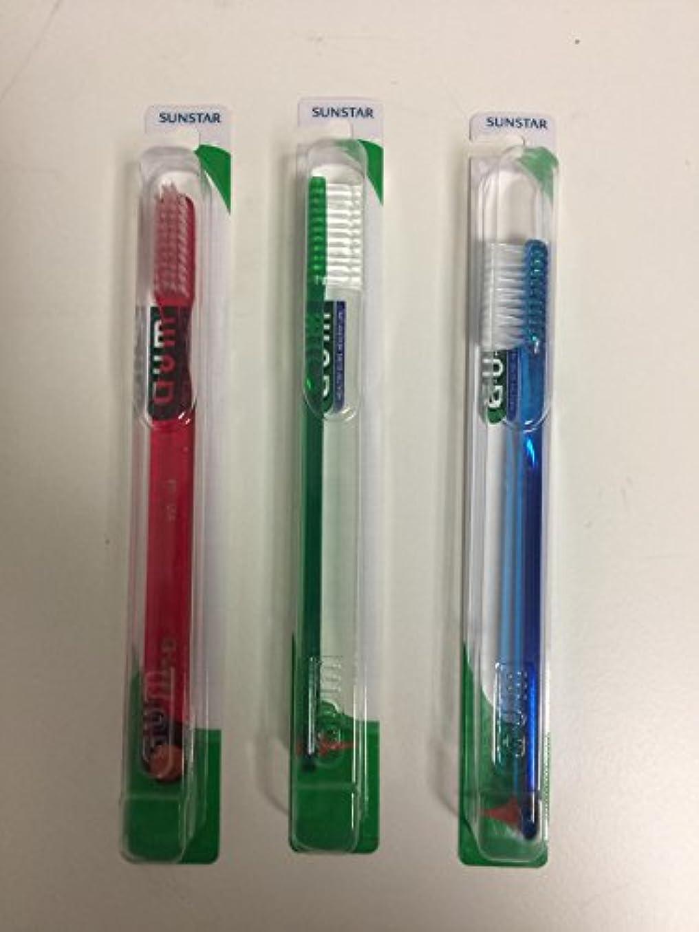 それるファシズム宿るGUM 411 Classic Toothbrush Full - Soft - With Stimulator (3 Pack) by GUM