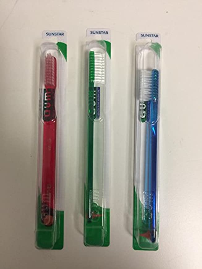 一回完全にひもGUM 411 Classic Toothbrush Full - Soft - With Stimulator (3 Pack) by GUM