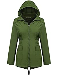 通気性のある 防水 防風 アウトドア レインコート フード付き ジャケット ジッパー ジャケット ジャケット レインコート アーミーグリーン 女性の レインコート (サイズ : M)