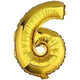 (ラボーグ) La vogue アルミバルーン 風船 16インチ 40cm 0-9数字自由選択 イベント 二次会 パーティー 結婚式用品 装飾 飾り ゴールド 1枚入れ 金色数字 (6)