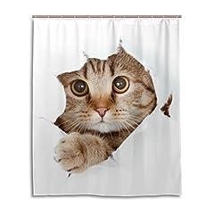 マキク(MAKIKU) シャワーカーテン 防カビ おしゃれ リング付属 かわいい 猫 望でいる 猫柄 バスカーテン 防炎 環境にやさしい 目隠し洗面所 間仕切り 取付簡単 150x180