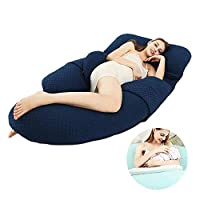 メモリ枕とU字マタニティ枕、睡眠脚を上げて、背中や腹部、サイド、フロントと腹部をサポートして、妊娠中の女性のための適切なことができます,ブルー