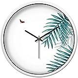 CSQ 緑の葉の壁時計、スタジオのおもちゃの店遊び場の飲料屋のプールのプールの壁時計サイレントメタルの壁時計30-35CM ウォールクロックと掛け時計 (色 : 白, サイズ さいず : 35*35CM)