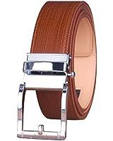 ベルト メンズ 本革 オートロック ビジネス カジュアルレザーベルト 穴無し オートロック式 ロングサイズ調整可能 LQJ21305