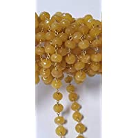 Natural Yellow Dark Jade 8mm Beads 24k Gold Plated Over Silver Chain Sold by The Foot, Semi Precious Gemstone Chain Handmade Jewelry Making Chain