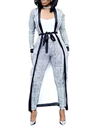 Nicellyer Women Houndstooth 3 Pieces Work Office Classic Top+Long Pant