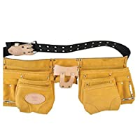 Smato SMT-300 15ポケットベルトタイプレザーツールポーチ電気技師大工道具ベルト付きベルト Smato SMT-300 15 Pocket Belt-type Leather Tool Pouch Electrician Carpenter Tool Bag with Belt [並行輸入品]