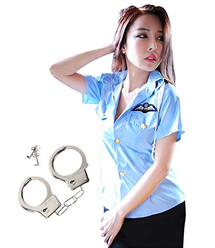 ROZZERMAN 婦人警官 コスチューム 手錠 セット レディース ハロウィンハロウィン X2 (L)