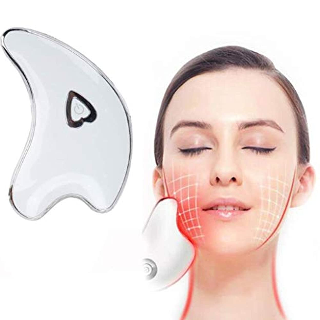 ゲージどうやって危険にさらされているフェイシャルスクレーピングマッサージャー、ネックスクレーピングマッサージボード、ダークサークルを防止するためのツールマイクロカレントバイブレーションアンチシワ、薄い顔の引き締め肌の引き締め (Color : White)