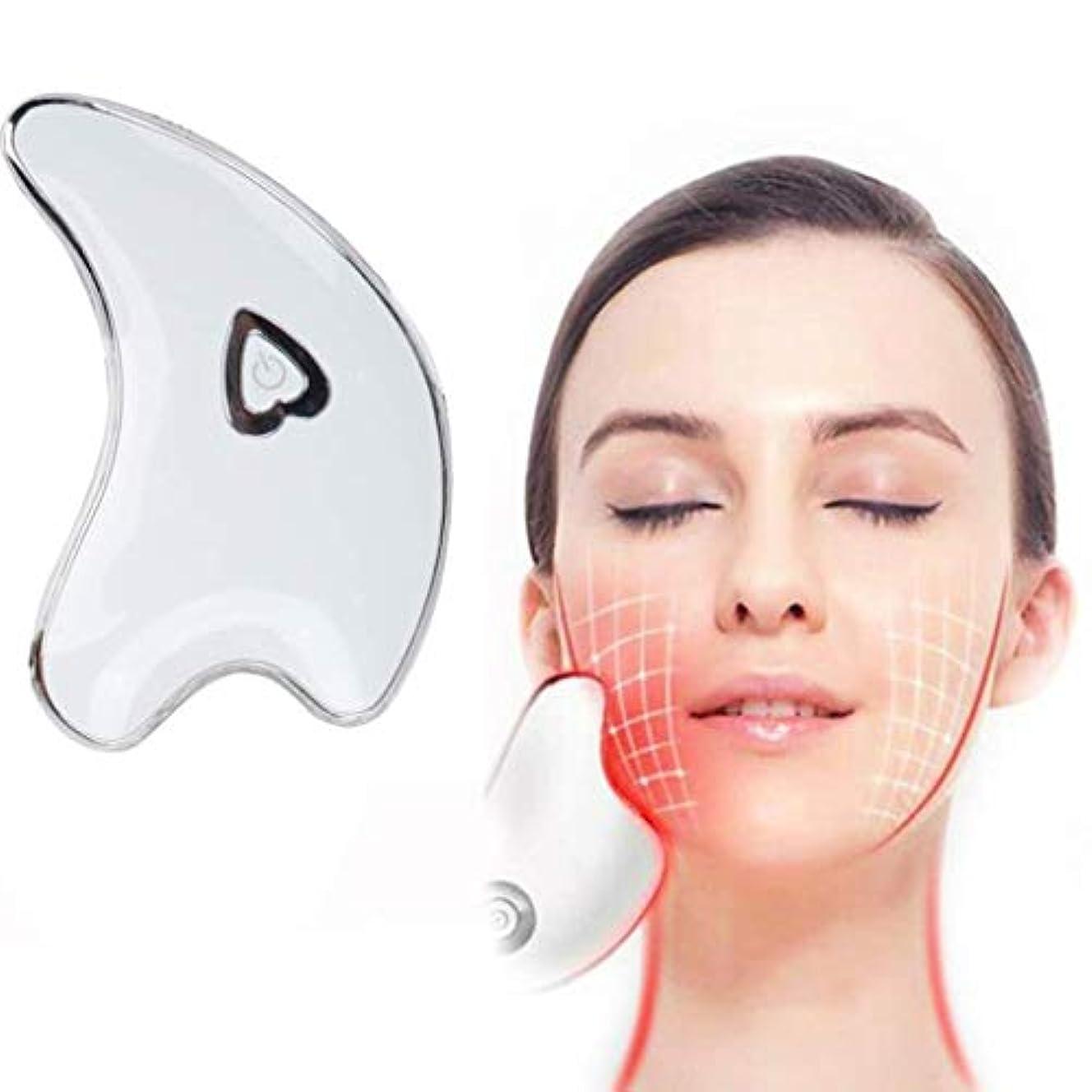 マウントバンクごみ準備したフェイシャルスクレーピングマッサージャー、ネックスクレーピングマッサージボード、ダークサークルを防止するためのツールマイクロカレントバイブレーションアンチシワ、薄い顔の引き締め肌の引き締め (Color : White)