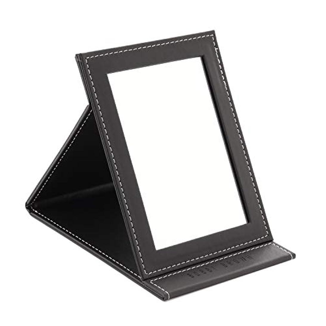 テーブルを設定する黙認する軽減[スプレンノ] 折り畳みミラー 化粧鏡 スタンドミラー 角度調整 自由自在 外装PUレザー仕上げ (M)
