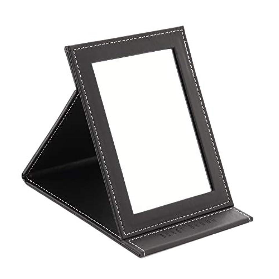 ヨーグルト暗唱するおじさん[スプレンノ] 折り畳みミラー 化粧鏡 スタンドミラー 角度調整 自由自在 外装PUレザー仕上げ (M)
