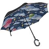 CYDBQ 逆さ傘 バルーン 長傘 逆折り式傘 折りたたみ傘 逆転傘 手離れc型手元 耐風 撥水 車用 晴雨兼用 8本骨 梅雨対策 Uvカット 自立