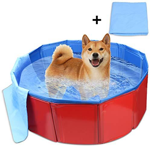犬 プール ペット用バスグッズ バスプール バスタブ 折り畳み PVC複合素材 耐磨 防水 底面水抜き栓付き 夏 猫 小型犬 中型犬 お風呂ために 屋内屋外用 60*20サイズ