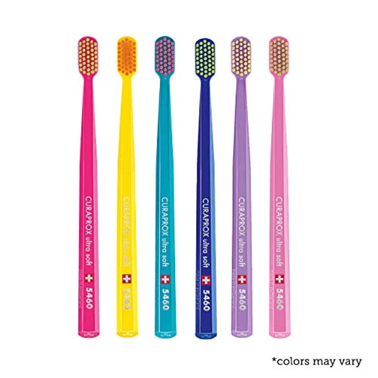 一流損傷学習Ultra soft toothbrush, 6 brushes, Curaprox Ultra Soft 5460. Softer feeling & better cleaning, in amazing vivid...