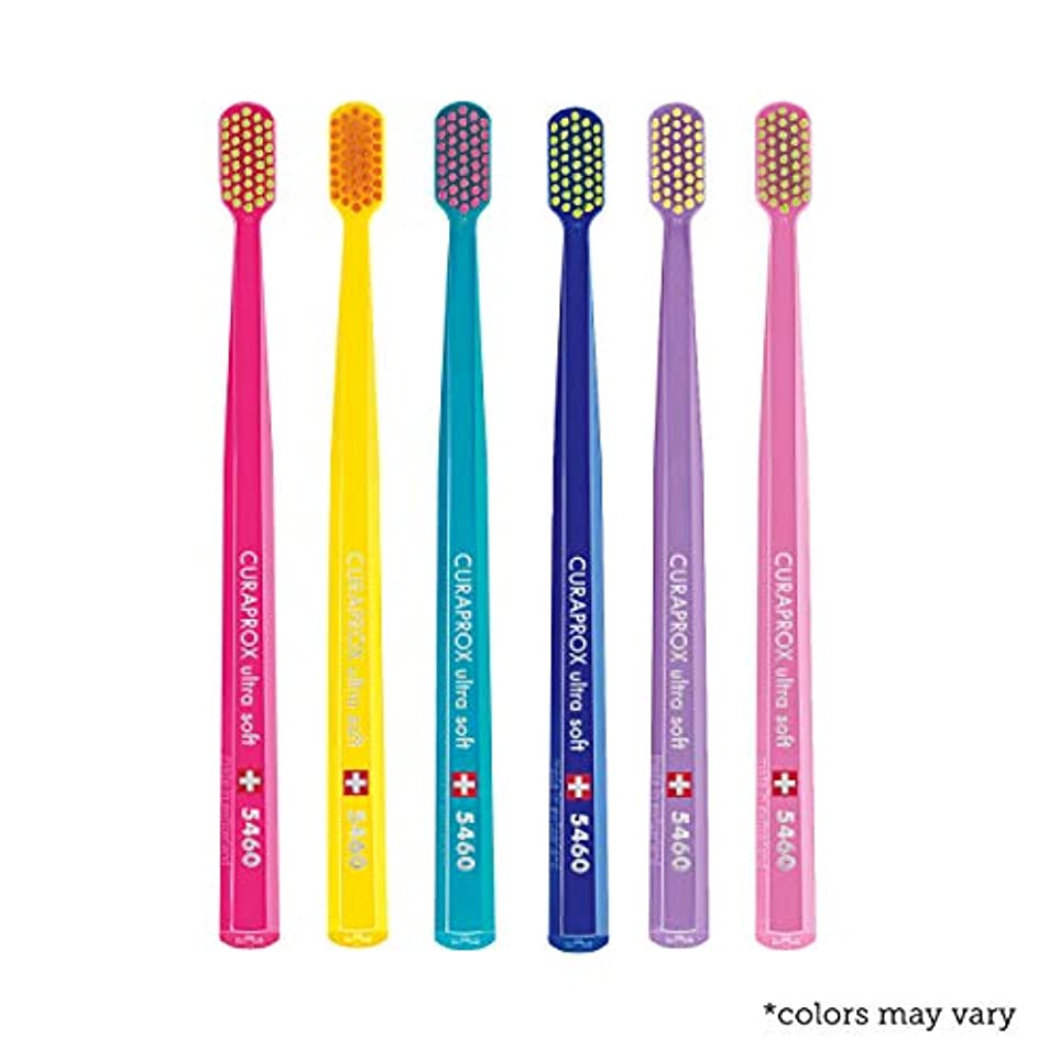 撃退する費用聡明Ultra soft toothbrush, 6 brushes, Curaprox Ultra Soft 5460. Softer feeling & better cleaning, in amazing vivid...