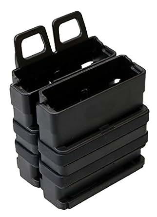 7.62mm対応 2連 マガジン マグポーチ ブラック BK MOLLEシステム対応 サバイバルゲーム SWAT ITW タイプ (ブラック)