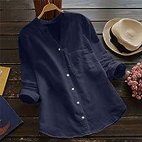 Phylamp 一月掲載 レディース 綿麻 シャツ Vネック 肌触り良い 柔らかい 無地 長袖 5色選択