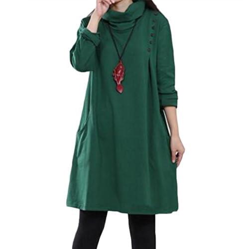 (リザウンド) ReSOUND タートル ネック 長袖 ワンピース Aライン 体型 カバー ゆったり サイズ 秋 冬 春 レディース グリーン M #98