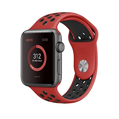 EloBeth Apple Watch /Apple Watch 2バンド シリカゲルバンド アップルウォッチ Nike+ / New Apple iWatch Series 2 / Apple Watch Series 1 に対応 バンド ラグ付きfor Apple Watch (42mm, 赤&黒)