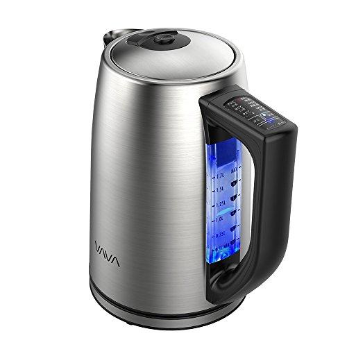 電気ケトル VAVA【1.7L大容量 / 6段階温度設定 / ステンレス製/BPAフリー/断熱ハンドル/空焚き防止/STRIX温度コントロール】家庭、オフィスなどに適用 VA-EB015