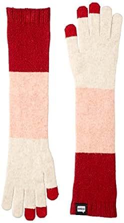 [エヴォログ] スマホ対応手袋 TRICO Long for Ladies LET 2354 Beige x Pink x RED 日本 Free-(Free サイズ)