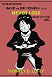 """No matter how hard or impossible it is, never lose sight of your goal: Anime Lover """"Motivation"""" Notebook, 120 Squared Pages, 6 x 9, Gift, School&Office, One Piece, Luffy"""