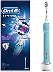 Oral-B PRO 500 3D White Rechargeable Electric Toothbrush, Powered by Braun