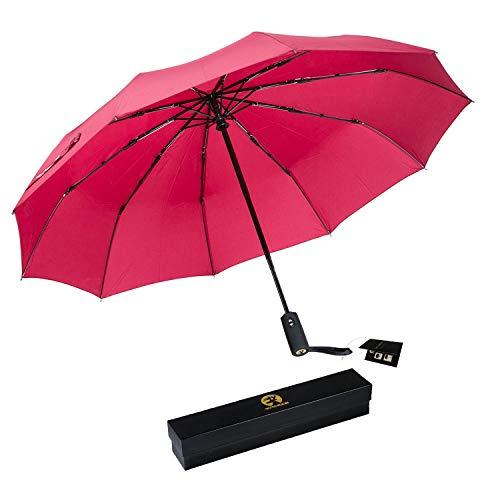 Roterdon 折り畳み傘 レディース おしゃれ ワンタッチ 自動開閉式 10本骨 大きい 耐強風 頑丈 撥水 収納ケース付き 自動傘