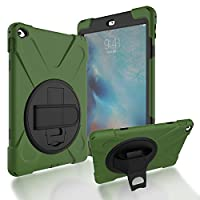 iPad Air 2/iPad 6 Back Case, DIGIC Hybrid PC Silicone Armor Defender Cover with Hand Strap 360 Degree Rotation Stander Full Protective Tablet Shell for Apple iPad Air 2/iPad 6, Army Green