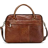 "Leather Bag Mens Men's Leather Handbag 13""Computer Bag Business Briefcase Simple Practical Business Bag High Capacity (Color : Brown, Size : S)"