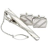 ビズオン BizON シルバー 925 ネクタイピン カフス セット ブランド 日本製 銀製 チェーン付 SV0009セットc