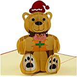 Bear Gifting - 3D Popup Greeting Card, Love Card, Anniversary Card, Sympathy Cards, Thank You Cards, Romantic Birthday Cards, Congratulation Cards (Red)