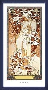 ポスター アルフォンス ミュシャ 四季 -冬- 1900年 額装品 ウッドベーシックフレーム(ブルー)