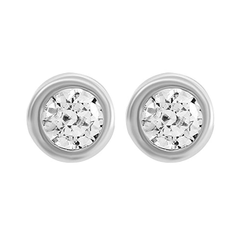応用政府敏感な1/3 Ct ラウンドカットベゼルセット 本物のダイヤモンド ソリティア スタッドピアス 14k ホワイトゴールド