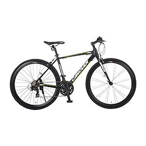 カノーバー クロスバイク 700C シマノ21段変速 CAC-028(KRNOS) アルミフレーム フロントLEDライト付 ブラック
