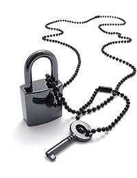 [テメゴ ジュエリー]TEMEGO Jewelry メンズ合金ロックとキーペンダントネックレスチェーン、黒 [インポート]