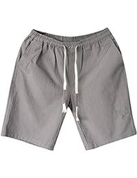 CA-TING メンズ ショートパンツ 短パン 夏 綿麻 無地 ポケット付き 薄手 五分丈 おしゃれ カジュアル 腰紐 ゆったり 通気性 着痩せ 大きいサイズ