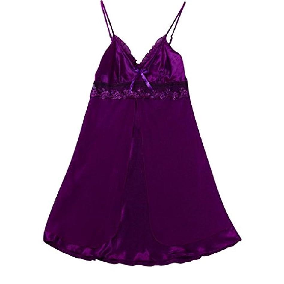 紫の線冷酷なランジェリー ファッション女性 セクシーレース 大きいサイズ 寝間着 下着レース ベビードール セット ストラップレース 夜 ドレスセクシー