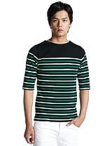 3/4 Sleeve Stripe Basque Shirt 3217-113-2843: Black