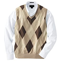 Cotton/Wool V-neck Argyle Sweater Vest: Oatmeal Heather